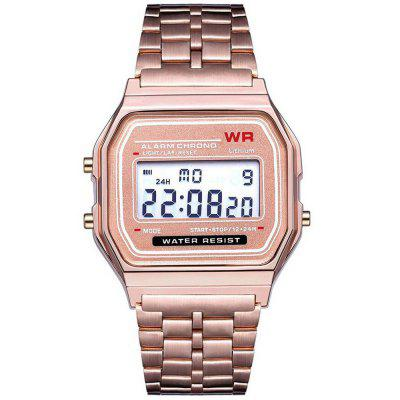 Electronic Watches Men LED Digital Waterproof Quartz Watch Stainless Steel Golden Gents Wrist Watch