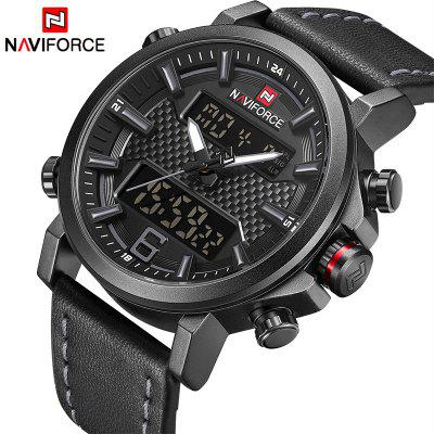 Men Fashion Sport Watch Men Leather Waterproof Quartz Watches LED Analog Clock