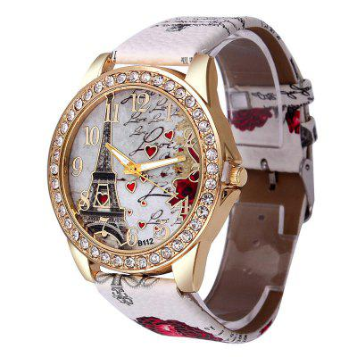 Womens Watch Tower Pattern Rhinestone Leather Band Analog Quartz Cheap Wrist Watches