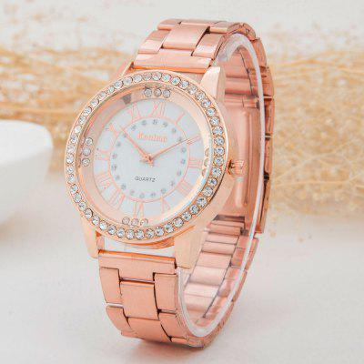 Women Quartz Clock Mechanical Rome Scale Cool Diamond Set Steel Watch