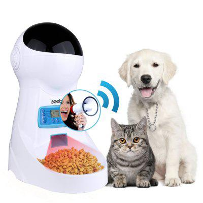 Iseebiz 3L Automatic Timed Cat Feeder 4 time One Day Voice Recording Bowl LCD Screen