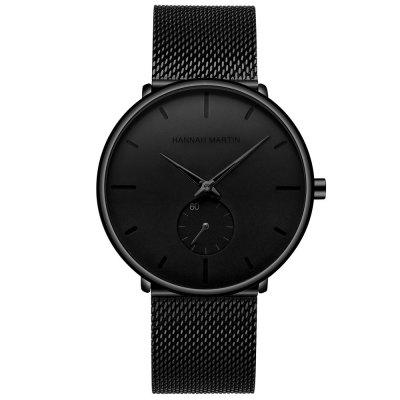 Men Classic Black Steel Chronograph Business Watch Unisex Minimalist Wrist Watch