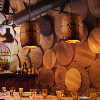 Wood Wine Barrel Hanging Fixture Pendant Lighting Bar Cafe Ceiling Lights