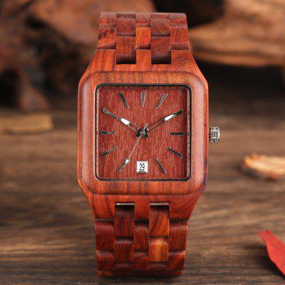 Retro Wood Watches for Men Unique Rectangle Dial Light Clock