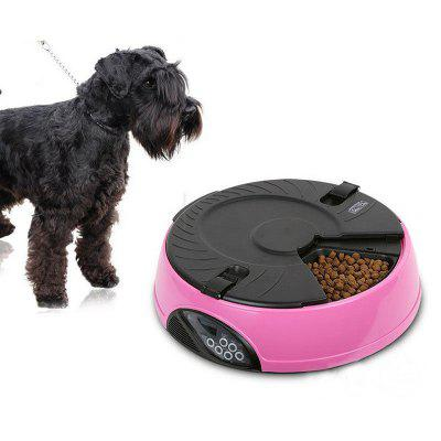 Quantify 6 Meal Automatic Pet Feeder LCD Display Cat Food Dispenser Timed Recorder Food Reminder