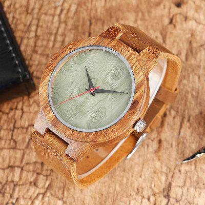 Natural Bamboo Wood Watch Men Women Genuine Leather Wooden Clock