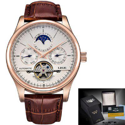 Men Retro Watches Automatic Mechanical Watch Tourbillon Clock Genuine Leather
