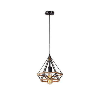 Wrought Iron Rope Pendant Lamp American Country Industrial Light  E27 for Bathroom