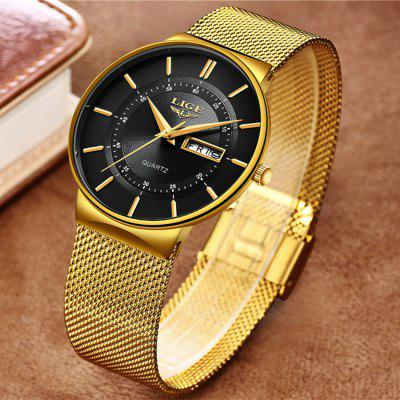 LIGE Mens Watches Waterproof Ultra Thin Date Clock Male Steel Strap Casual Quartz Watch