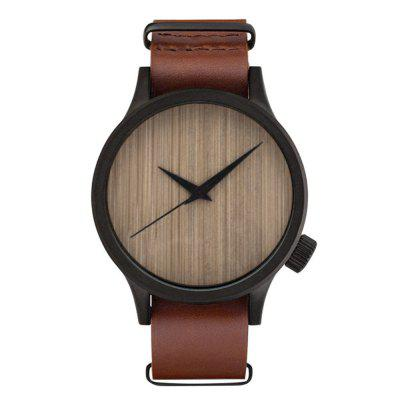 Creative Casual Wooden Watch Minimalist Men Cool Watch Quartz Leather Watch Male Wristwatch