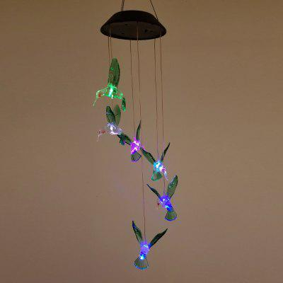 Outdoor LED Solar Hummingbirds Lamp Rechargeable Wind Chime Garden Hanging Lights