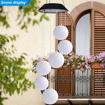 LED Solar Multicolor Hanging Lamp Waterproof Wind Bell Light Outdoor Garden Night Chandelier