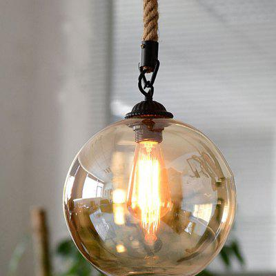 Loft Vintage Retro Pendant Lights Industrial Glass Ball Hemp Rope E27 Fixtures