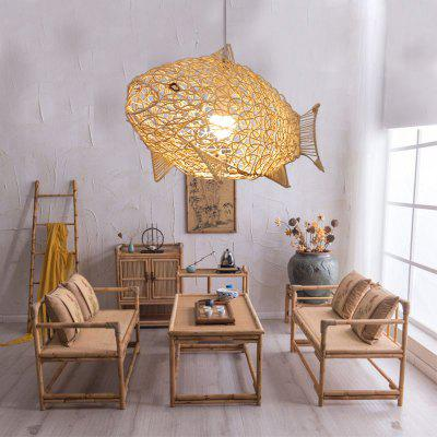 Modern Simple Rattan Fish Chandelier Restaurant Personality Creative Hand-woven Fish-shaped Lamp