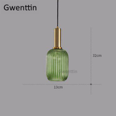 Modern Stained Glass Pendant Light Fixtures LED Industrial Gold Hanging Lamp