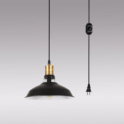 Iron Art Plug Light Retro Industrial Style Black Pendant Light Kitchen Island Pendant Lamp