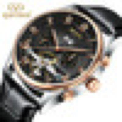 Mechanical Watch Men Automatic Classic Rose Gold Leather Mechanical Wrist Watches