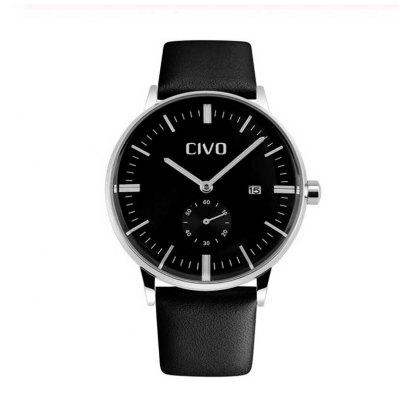 Mens Fashion Watches Genuine Leather Luxury Waterproof Analogue Quartz Wrist Watch For Men Clock