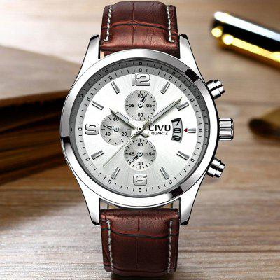 New Fashion Genuine Leather Mens Watches Waterproof Quartz Wrist Watches Business Casual Man Clock