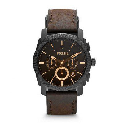 Vintage Watch for Men Machine Mid-Size Chronograph Brown Leather Watch Male Business Wrist Watch