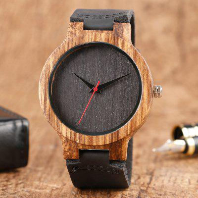 Simple Wooden Watch Men Nature Bamboo Wood Leather Casual Minimalist Watch Male Sport Clock