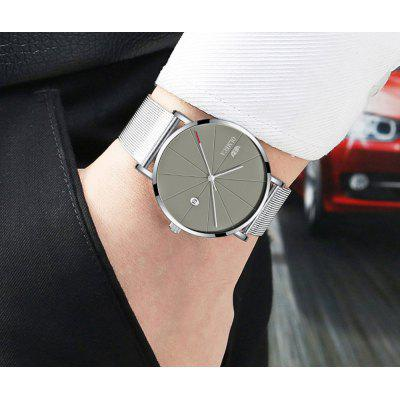 Nice Watch Fashion Wrist Watch Gray Dial Water Resistant Complete Calendar Mens Watch Alloy