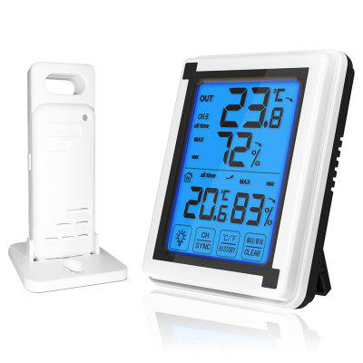 Touch Screen Weather Station Outdoor Forecast Sensor Backlight Thermometer Hygrometer Wireless