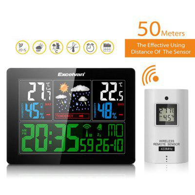 Wireless Weather Station Smart Thermometer Hygrometer Indoor Temperature Humidity Meter Color LCD