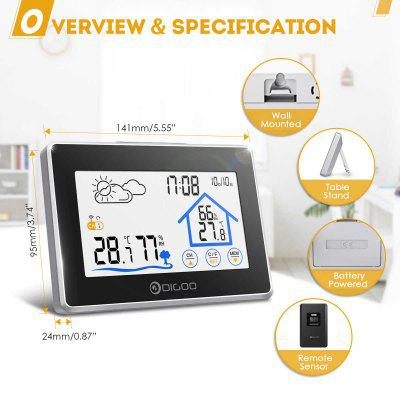 Touch Indoor Outdoor Weather Station Forecast Sensor Thermometer Hygrometer Meter Calendar
