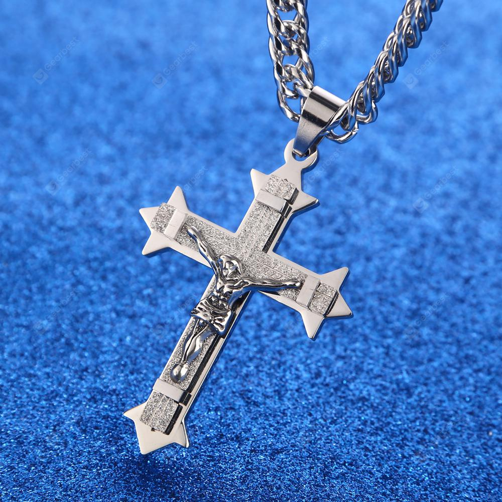 Classic Mens Silver Gold Stainless Steel Hollow Cross with Jesus Christ Pendant