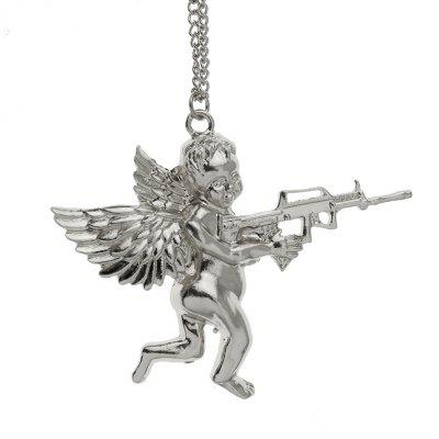 Gold Silver Angel Baby Carry Gun Stuff Pendant Long Necklace Chain Jewelry