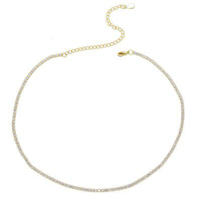 Thin Tennis Chain Necklace Layer Choker Various Gold