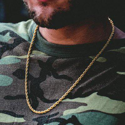 Hip Hop Rapper Chain 3mm Gold Color Stainless steel Rope Link Necklace Jewelry