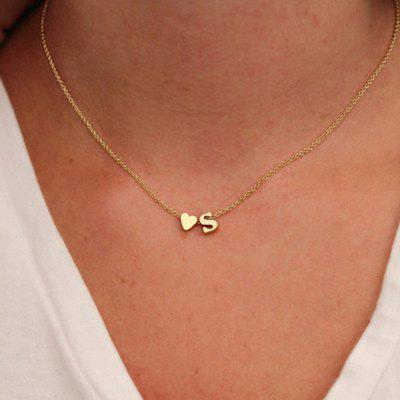 Heart Dainty Initial Letter Name Choker Necklace Pendants Jewelry Chain Accessories Gift