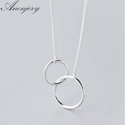 Double Circle Interlock Clavicle Short Necklace 925 Sterling Silver Necklace for Women