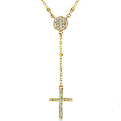 925 Sterling Rosary Necklaces Trendy Mens Gold Cross Necklace Jewelry Charms Necklace