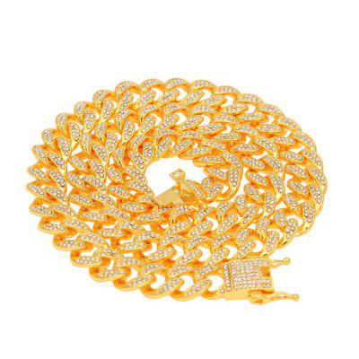 Cuban Link Chain 13mm Full Bling  Gold Fashion Necklace