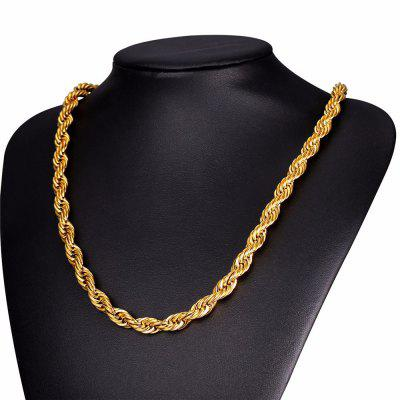 Hip Hop Rope Necklace For Men Gold Color Thick Stainless Steel Chain