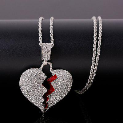 Fashion Broken Heart Pendants Necklaces Women Men Hip Hop Jewelry Gold Silver Iced Out Chain