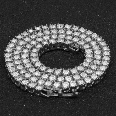 1 Row 5mm Tennis Necklace Ice Chain Rhinestone Gold Silver Plated