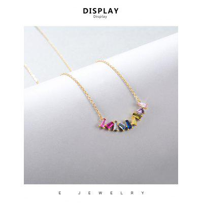 Rainbow Pendant Necklaces for Women Girls 14K Gold Plated Colorful Chain