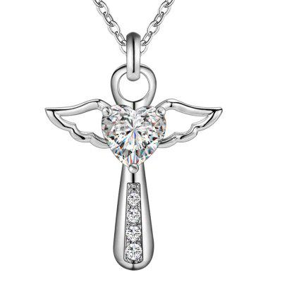 Silver Color Necklace Jewelry Wedding Fashion Cross Crystal Zircon Stone Pendant Chain