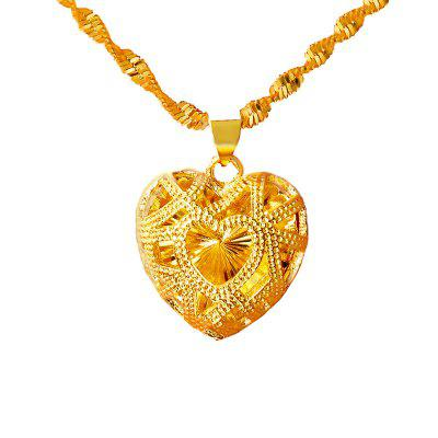 Heart Shape Pendant Necklace 24K Dubai Gold Jewelry Wedding Anniversary Commemorate Chain