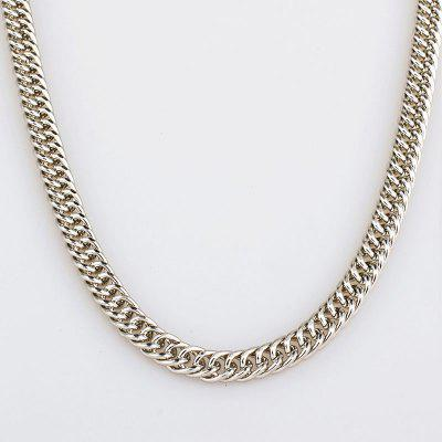 High Quality 90CM 7.5mm Hip Hop Mens Herringbone Silver Cuban Link Chain Necklace Jewelry