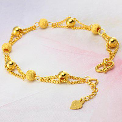 Pure Gold Color Bracelets 24K Plating Ball Beads Bracelet Fashion Gold Bracelet Chain