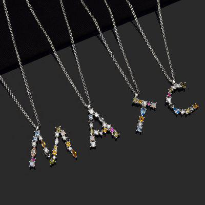 Sterling Silver 26 Letters Gold Initial Letter Pendant Necklace Thin Long Chain