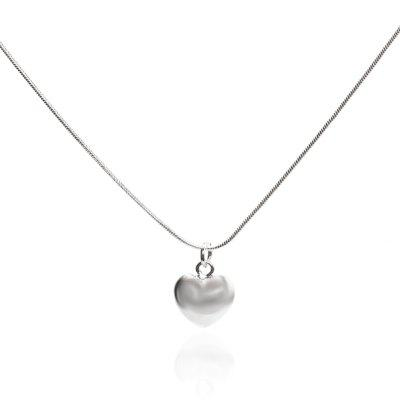 925 Silver Color Necklace Fashion Chains for Girls Heart Pendant