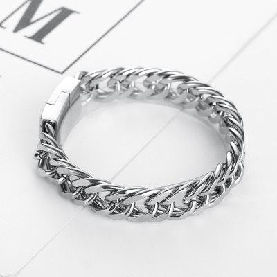 Men Bracelet Curb Chain Cuban Link Silver Color 316L Stainless Steel Wristband Male Jewelry