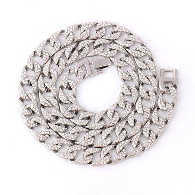 Silver Crystal Rhinestone Link Chain Necklace For Rock Cool Men Cuban Chain