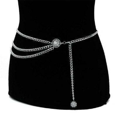 Bohemian Retro Style Multilayer Alloy Waist Belly Chain Body Chain Round Pendant Belly Chain